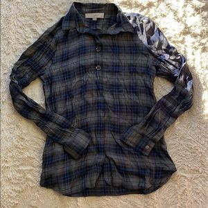 LOFT Embellished Blue and Gray Plaid Button Down